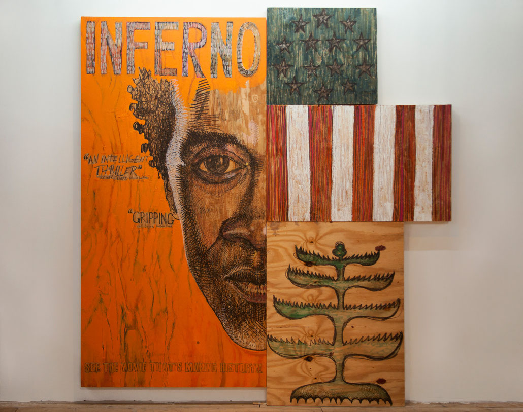 INFERNO Poster and Banners, Acrylic Paint, Permanent Ink & Wood, 9' x 8', 2014