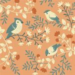 birch - birds and branches, coral - bio-baumwolle