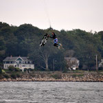 very windy kitesession near the house in Rhode Island