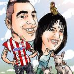 Caricaturas personalizadas online de fotografías: caricatura pareja + mascotas 45€ a todo color