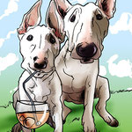 Caricaturas personalizadas online de fotografías: caricatura de mascotas 20€ a todo color