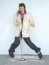 RÉPLICA DE ELVIS PRESLEY CANTANDO CON MICRÓFONO Y AMERICANA BLANCA | Figuras de Elvis Presley
