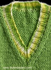 cuello V tejiendoperu