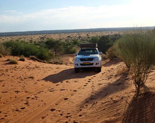 4x4 Auffahrt zum Red Dune Camp, Kalahari Namibia