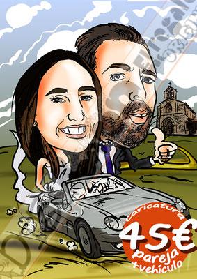Caricatura pareja coche vehículo color por 45€