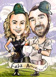 Caricatura digital a partir de fotografías de pareja por 40€
