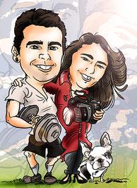 Caricatura personalizada pareja color por 40€