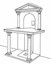 """Martyrium"" elemento funerario para dar culto a un mártir que da testimonio de su fe, con antecedente pagano."