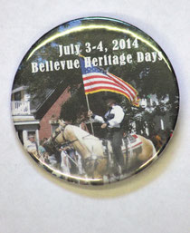 NEW BUTTONS are now on sale for the 2014 Bellevue Heritage Days Celebration. Available at most local business, the buttons cost $5 and serve as admission for most events and activities.