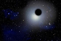 """Artist's concept of a """"rogue"""" black hole wandering through space. (Credit: David A. Aguilar, CfA)"""