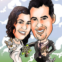 Caricatura personalizada de pareja, por 40€ a todo color