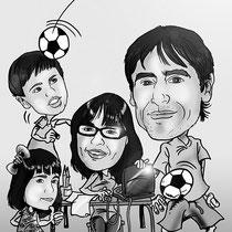 Caricatura personalizada 2 adultos + 2 niños blanco y negro: 30€