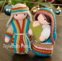 Virgen María, San José y el NIño tejidos a crochet en la técnica del amigurumi