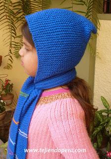 Cómo tejer una bufanda con capucha en dos agujas o palitos para niños