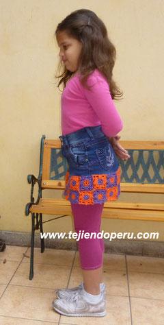 falda jean reciclada con borde a crochet