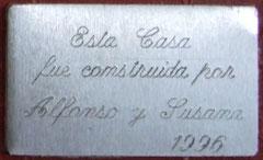 esta placa la grabó mi amiga Silvia