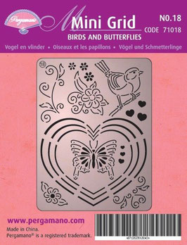 PERGAMANO MINI GRID 18 BIRDS AND BUTTERFLIES
