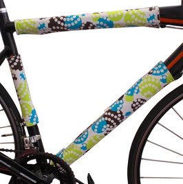 BikeWrappers: Green, Blue, Brown, and White Polka Dots