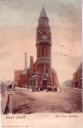 The site of the Small Heath: Library & Baths - date unknown - Thanks for the use of this postcard to JKC/ John K Colin on the Birmingham History Forum.