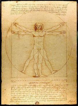 Hombre de Vitrubio. Dibujo de Leonardo Da Vinci. 1492