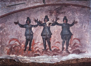 Tres jóvenes hebreos en el horno, paloma con rama de olivo, símbolo de resurrección y salvación.