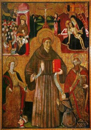 Santo franciscano con Catalina de Alejandría(su atributo es una rueda dentada y espada) y San Andrés (con la Cruz de aspa y los evangelios)