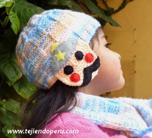 conjunto de bufanda y gorro para niños en dos agujas y crochet
