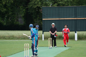 Uzman (Berne CC) opens the bowling for Swiss T20 national side