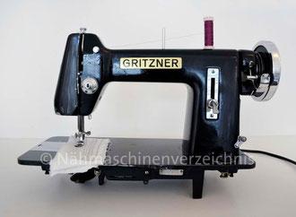 """Gritzner Modell """"Vera Gritzner"""", Flachbett mit Fußantrieb, Anbaumotor möglich, Hersteller: Gritzner-Kayser AG Nähmaschinen - Mopeds - Fahrräder Karlsruhe-Durlach (Bilder: Nähmaschinenverzeichnis u. I. Weinert)"""