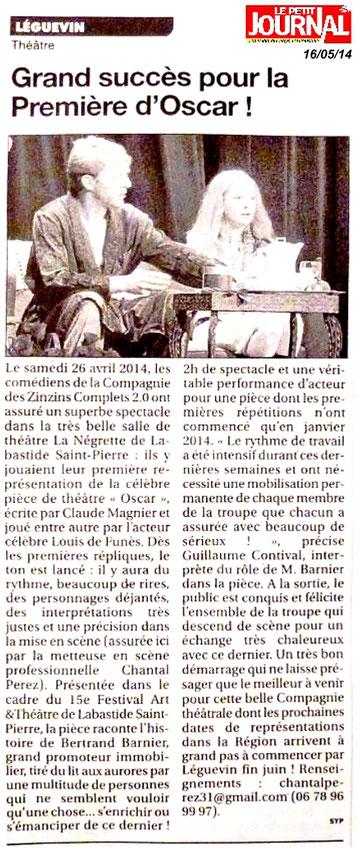Article publié dans l'hebdomadaire le Petit Journal, par Sylvie Prybylski