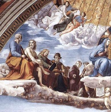Detalle de la Disputa del Sacramento,Rafael, Apóstoles y Santos Padres de la Iglesia Triunfante