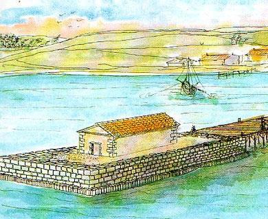 Reconstitution du site à la période Antique (Déssin JM Falguéra)