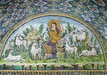 Mosaicos del Babtisterio ortodoxo de R,avena, SV, imagen de Cristo como el Buen Pastor