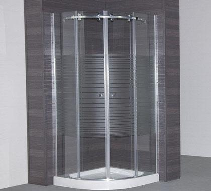 Mampara semicircular de ducha con vidrio templado