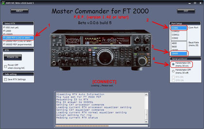 MC starting up with a connection to an FT-2000 PEP