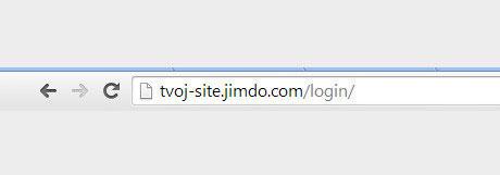 Вход через главную страницу Jimdo