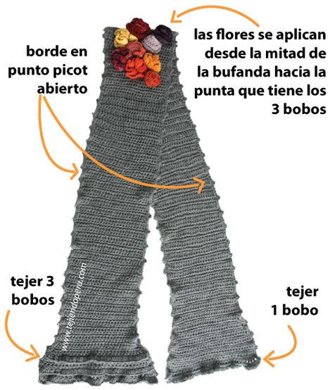 bufanda crochet con bobos y flores