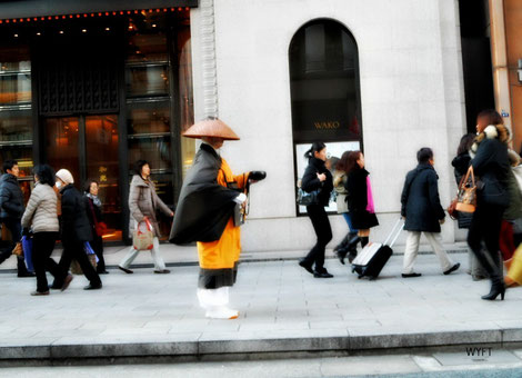 © Winifred  The stark contrast between the praying monk and the busy pedestrians at the upmarket Ginza.