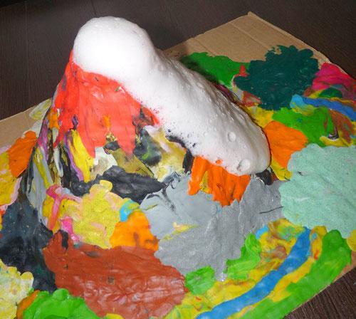 Как сделать вулкан из цветной бумаги
