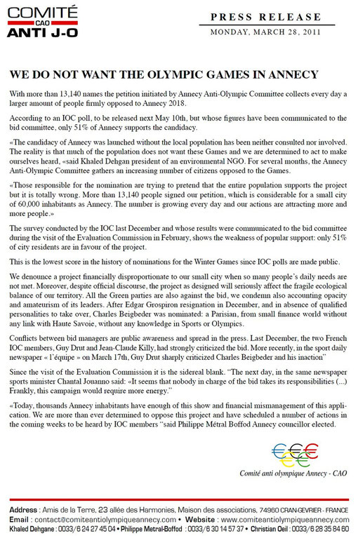 28th March 2011 - Press release - WE DO NOT WANT THE OLYMPIC GAMES IN ANNECY
