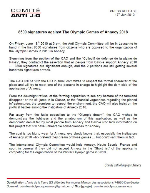 8500 signatures against The Olympic Games of Annecy 2018