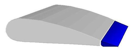 Schéma d'un profil avec les volets dans l'alignement de l'aile principale