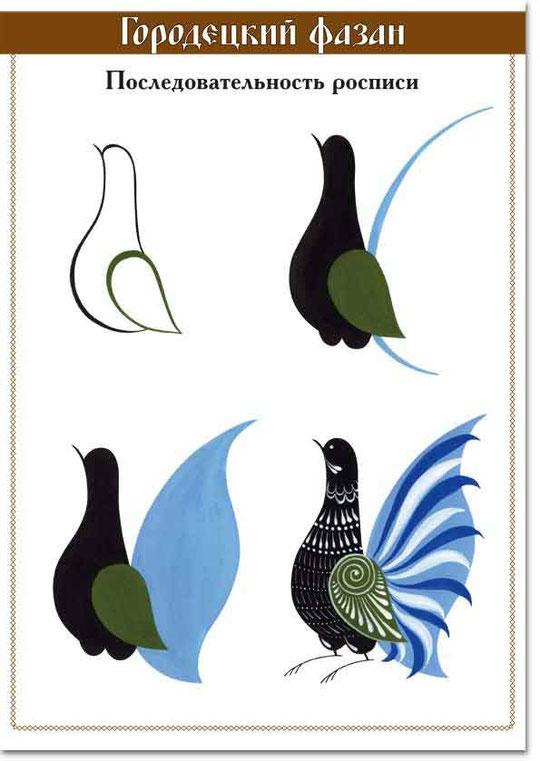 Городецкие птицы как рисовать 48