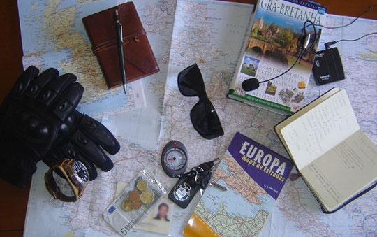 Algum material utilizado na viagem e na preparação da mesma.