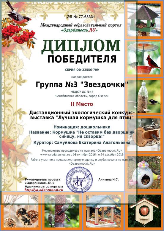 Грамота в конкурсе кормушка для птиц