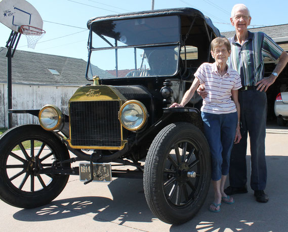 Don and Dorothy Michels of Bellevue pose for a photo with their classic 1914 Model-T Ford.