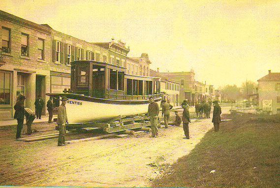 The Prentiss, one of the biggest and perhaps the fanciest boat built at the former Iowa Marine and Launch Works in Bellevue was photographed here on front street prior to launch in the Mississippi River in 1915. (photos courtesy of the Brandt historical c
