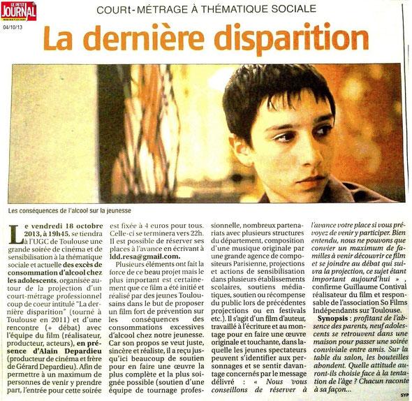 Hebdomaire régional Le Petit Journal, le 04/10/13 : merci à Sylvie Prybylski. LA DERNIERE DISPARITION