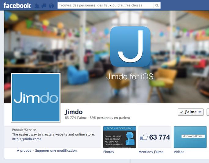 La page facebook de Jimdo