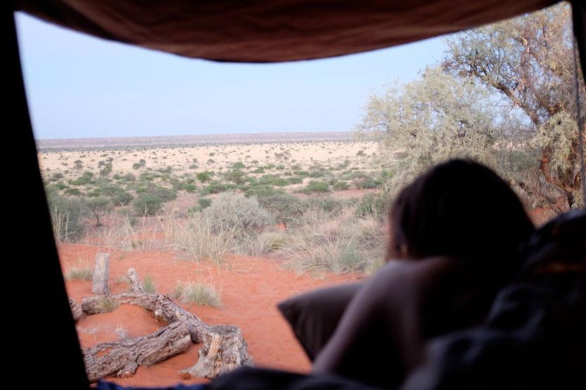 Ausblick vom Dachzelt, Red Dune Camp Namibia